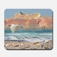 """Beach With Sea Birds"" Mousepad"
