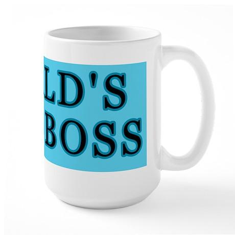 Blue World's Best Boss Large Mug