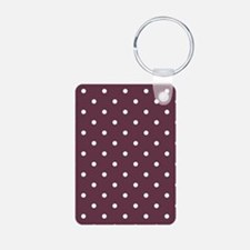 Red, Burgundy: Polka Dots Aluminum Photo Keychain