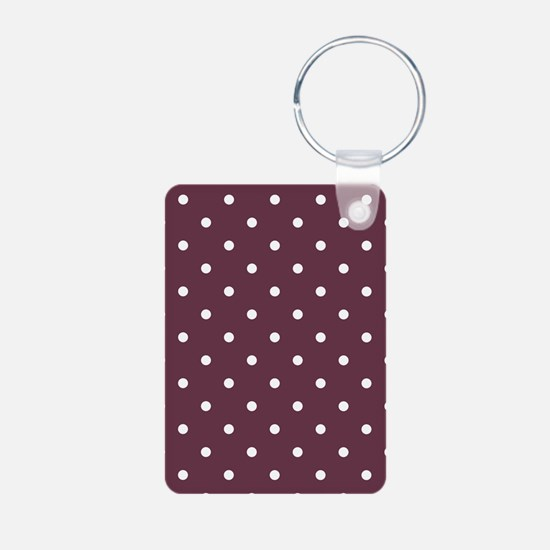 Red, Burgundy: Polka Dots Aluminum Photo Keychain