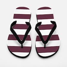 Horizontal Stripes: Burgundy Red Flip Flops