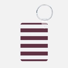 Horizontal Stripes: Burgun Aluminum Photo Keychain