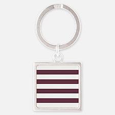 Horizontal Stripes: Burgundy Red Square Keychain