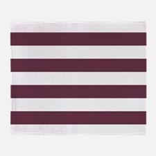 Horizontal Stripes: Burgundy Red Throw Blanket