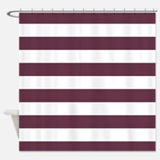 Horizontal Stripes: Burgundy Red Shower Curtain