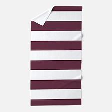 Horizontal Stripes: Burgundy Red Beach Towel