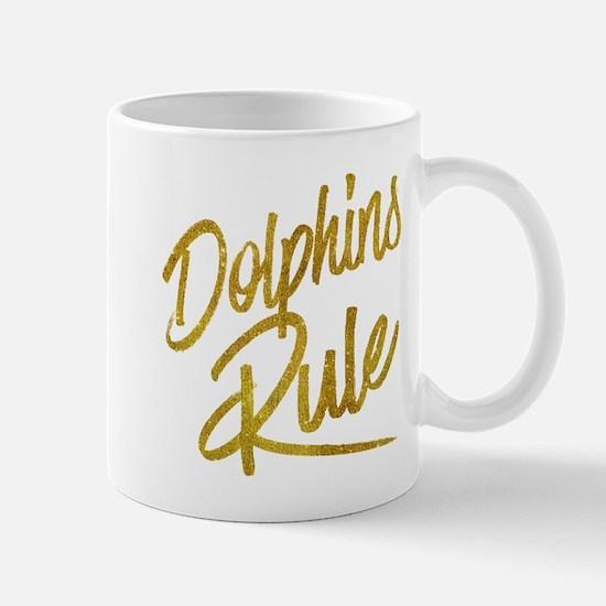 Dolphins Rule Gold Faux Foil Metallic Glitter Mugs