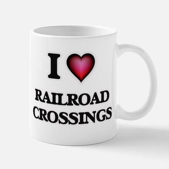 I Love Railroad Crossings Mugs