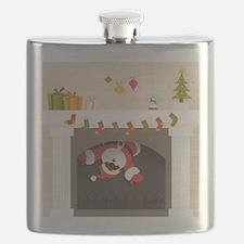 black santa stuck in fireplace Flask