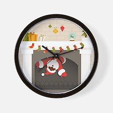 black santa stuck in fireplace Wall Clock