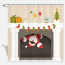 black santa stuck in fireplace Shower Curtain