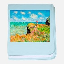 Clifftop Walk at Pourville by Claude baby blanket
