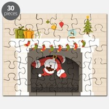 black santa stuck in fireplace Puzzle