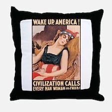 Wake Up America Throw Pillow
