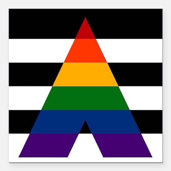 "Solid LGBT Ally Pride Fl Square Car Magnet 3"" x 3"""