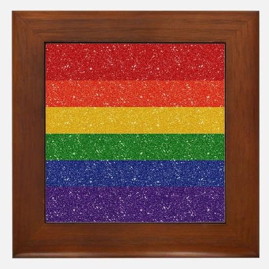 Glitter Rainbow Pride Flag Framed Tile