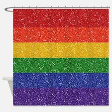 Glitter Rainbow Pride Flag Shower Curtain