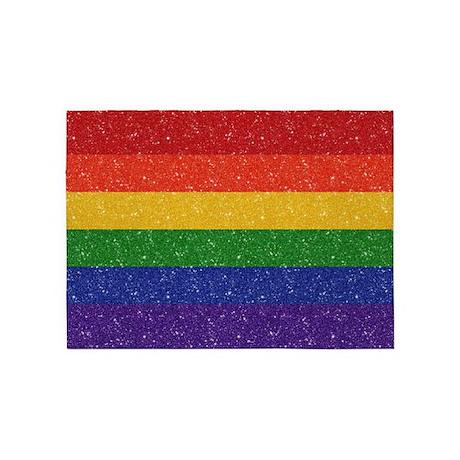 Glitter Rainbow Pride Flag 5u0027x7u0027Area Rug