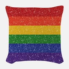 Glitter Rainbow Pride Flag Woven Throw Pillow
