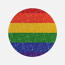 Glitter Rainbow Pride Flag Button