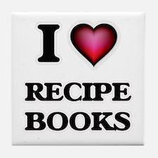 I Love Recipe Books Tile Coaster