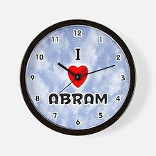 I Love Abram (Black) Valentine Wall Clock