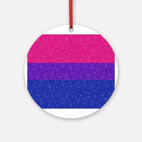 Glitter Bisexual Pride Flag Round Ornament