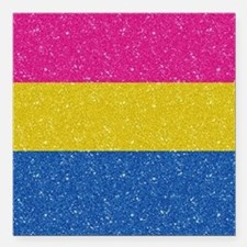 """Glitter Pansexual Pride Square Car Magnet 3"""" x 3"""""""