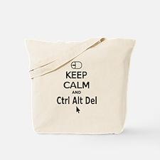 Keep Calm and Control Alt Delete (white) Tote Bag