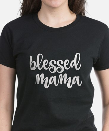 Blessed Mama White Lettering T-Shirt