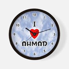 I Love Ahmad (Black) Valentine Wall Clock