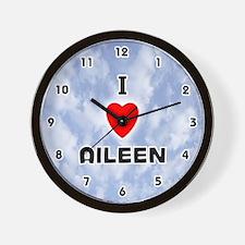 I Love Aileen (Black) Valentine Wall Clock