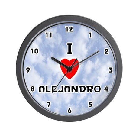 I Love Alejandro (Black) Valentine Wall Clock
