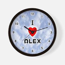 I Love Alex (Black) Valentine Wall Clock