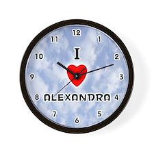 I Love Alexandra (Black) Valentine Wall Clock
