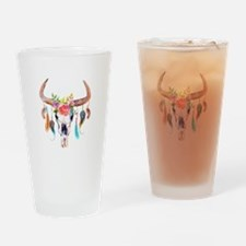 Buffalo Skull Drinking Glass