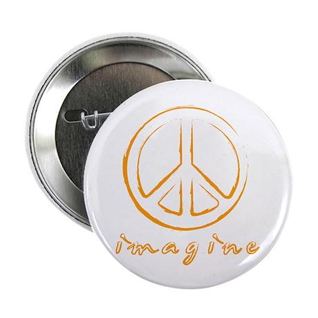 """Imagine - Peace Symbol - Orange 2.25"""" Button (100"""