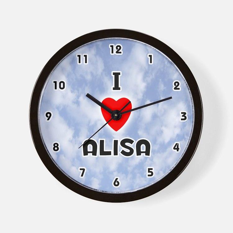 I Love Alisa (Black) Valentine Wall Clock
