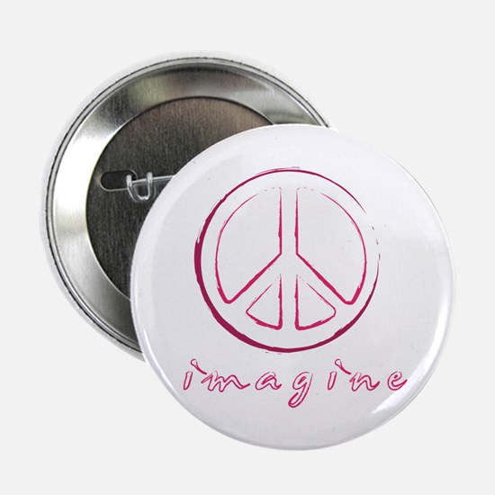 "Imagine - Peace Symbol - Orange 2.25"" Button"