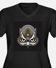 Owl Art Women's Plus Size V-Neck Dark T-Shirt