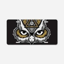 Owl Art Aluminum License Plate