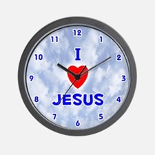 I Love Jesus (Blue) Valentine Wall Clock