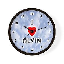I Love Alvin (Black) Valentine Wall Clock