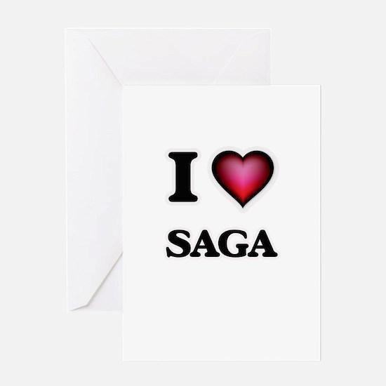 I Love Saga Greeting Cards