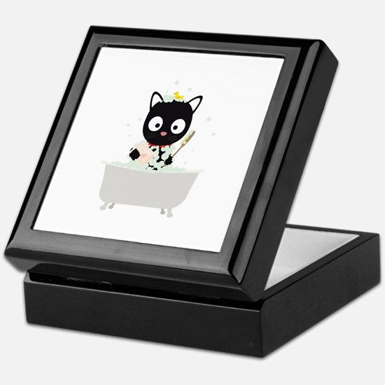 Bathing Cat in a bathtub Keepsake Box
