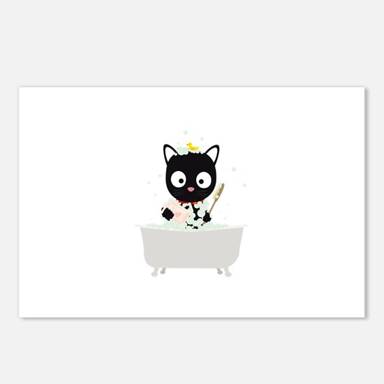 Bathing Cat in a bathtub Postcards (Package of 8)
