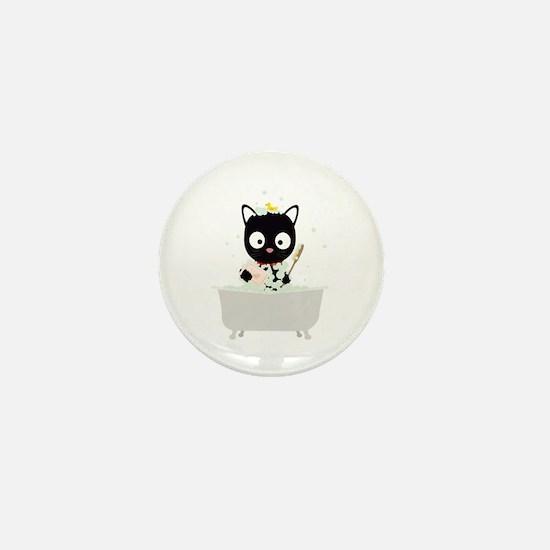 Bathing Cat in a bathtub Mini Button