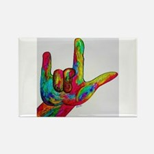 ASL I Love You Watercolor Painting Magnets