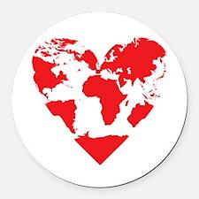 Love the World Round Car Magnet