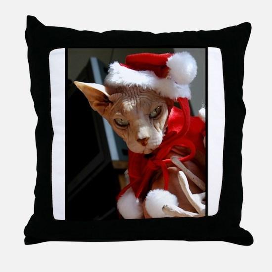 Cute Sphynx cat christmas Throw Pillow